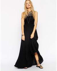 ASOS - Black Halterneck Crochet Maxi Dress - Lyst