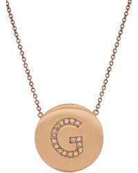 "Jennifer Meyer | Pink Diamond & Rose Gold Initial ""G"" Pendant Necklace | Lyst"