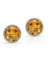 Anne Sisteron - 14kt Yellow Gold Citrine Diamond Round Stud Earrings - Lyst