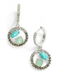 Judith Jack | Blue Sterling Silver And Crystal Interlock Hoop Drop Earrings | Lyst