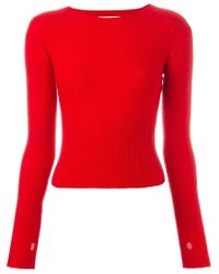 Lemaire - Red Ribbed Sweater - Lyst