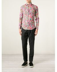 Etro - Pink Floral Paisley Print Shirt for Men - Lyst