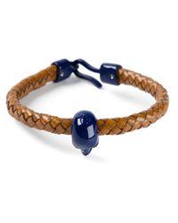 Alexander McQueen - Blue Woven Skull Bracelet - Lyst