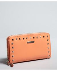 Rebecca Minkoff - Orange Coral Leather Pyrmaid Studded Continental Wallet - Lyst