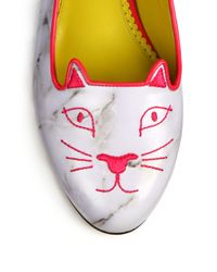 Charlotte Olympia - Gray Marble Leather Kitty Flats - Lyst