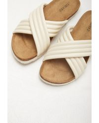 Forever 21 - Natural Ribbed Faux Leather Sandals - Lyst