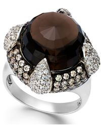 Macy's - Metallic Smoky Quartz (10 Ct. T.w.) And Swarovski Zirconia Accent Ring In Sterling Silver - Lyst