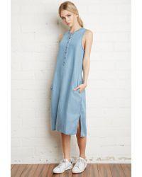 Forever 21 - Blue Chambray Midi Dress - Lyst