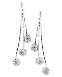 Anne Klein | Metallic Silver-tone Glass Crystal Linear Chandelier Earrings | Lyst