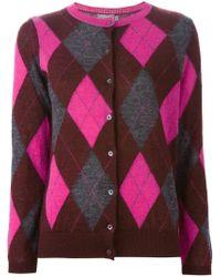 Moncler - Pink Argyle Cardigan - Lyst