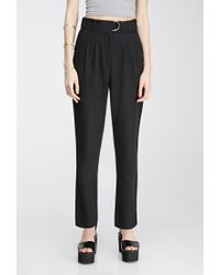 Forever 21 | Black Pleated Slim-leg Trousers | Lyst