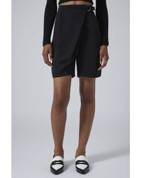 TOPSHOP - Black Dring Wrap Longline Shorts - Lyst