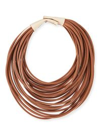 Brunello Cucinelli | Brown Multi-strand Leather Necklace | Lyst