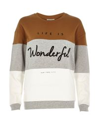 River Island - Gray Grey Wonderful Slogan Sweatshirt - Lyst