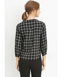 Forever 21 - Black Grommet Grid Print Top You've Been Added To The Waitlist - Lyst