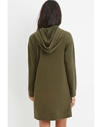 Forever 21 - Green Hooded Side-zip Dress - Lyst