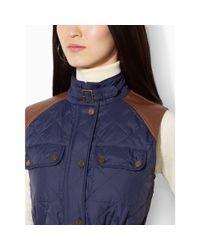 Ralph Lauren - Blue Faux Leather–trim Vest - Lyst