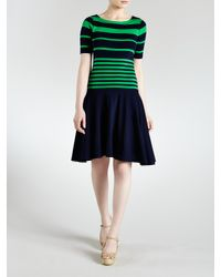 Lauren by Ralph Lauren - Green Striped Cotton Boatneck Dress - Lyst