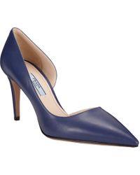 Prada - Blue Half Dorsay Pointtoe Pumps - Lyst