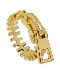 Steve Madden - Metallic Goldtone Zipper Ring - Lyst