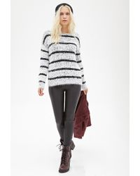53170922fd Lyst - Forever 21 Striped Fuzzy Knit Sweater in Natural