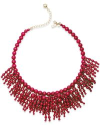 kate spade new york | Red 12k Gold-plated Beaded Fringe Statement Necklace | Lyst