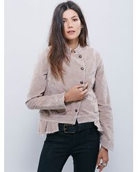 Free People - Natural Womens Shrunken Uncut Cord Jacket - Lyst