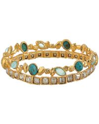 Alexis Bittar | Metallic Stacked Rocky Hinge W/ Rose Cut Chrysocolla And Amazonite Crystal Doublets Bracelet | Lyst