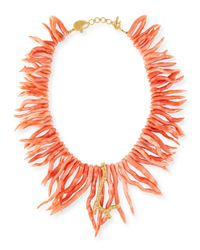 Coomi | Orange Coral Statement Necklace With Diamonds | Lyst