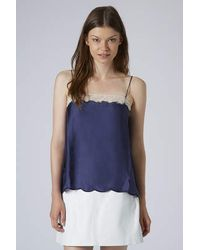 TOPSHOP - Blue Lace Mesh Scallop Cami - Lyst