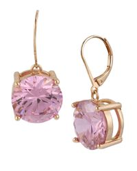 Betsey Johnson | Metallic Rose Goldtone And Rose Crystal Drop Earrings | Lyst