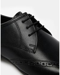 ASOS - Wingcap Brogue Shoes In Black Leather for Men - Lyst