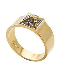 Noir Jewelry - Metallic Small Pave Pyramid Ring - Lyst
