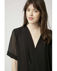 TOPSHOP | Black Drape Front Tunic Dress | Lyst