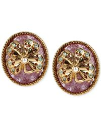 Betsey Johnson | Purple Gold-Tone Faux Pearl Shamrock Button Earrings | Lyst