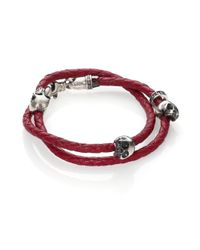 King Baby Studio - Red Thin-braided Double Wrap Leather Bracelet for Men - Lyst