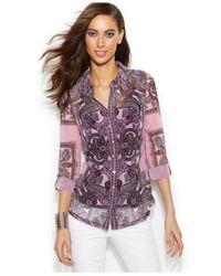 INC International Concepts - Purple Paisley-Print Blouse - Lyst