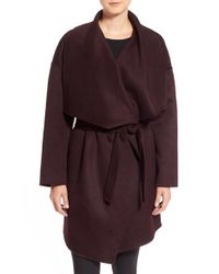 Fleurette | Purple Wool & Cashmere Double Face Wrap Coat | Lyst