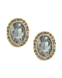 Cara | Black Faceted Pave Stud Earrings | Lyst