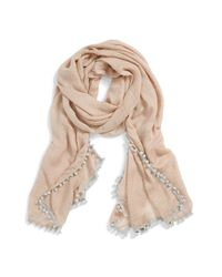 Halogen - Natural 'Sparkle Stripe' Pompom Trim Scarf - Lyst