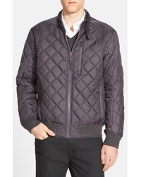 Andrew Marc | Gray 'delancey' Quilted Bomber Jacket for Men | Lyst