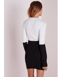 Missguided - Colour Block Turtle Neck Mini Dress Black/white - Lyst