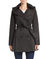 Via Spiga - Black Double-breasted Trench Coat - Lyst