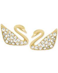 Swarovski | Metallic Gold-tone Crystal Pavé Swan Stud Earrings | Lyst