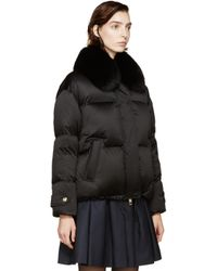Burberry | Black Fox Collar Alderwall Jacket | Lyst