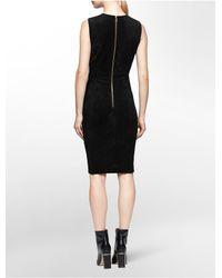 Calvin Klein | Black White Label Ultra Suede Sleeveless Sheath Dress | Lyst