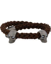 Alexander McQueen - Black Woven Bracelet With Skull Charms for Men - Lyst
