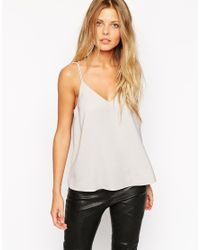 ASOS | Gray Plunge Neck Strappy Cami Top | Lyst