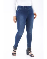 Forever 21 - Blue Plus Size Classic Wash Jeggings - Lyst