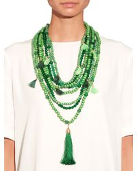 Rosantica By Michela Panero - Green Etna Multi-layered Wood And Quartz Necklace - Lyst